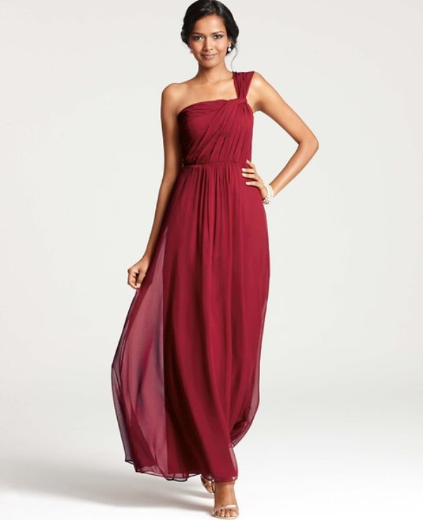 a deep red one shoulder bridesmaid dress with draping is a timeless idea for a fall wedding