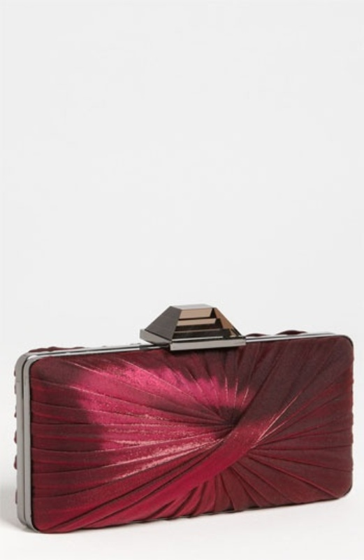 a draped burgundy clutch box for a touch of color for the bride or bridesmaids