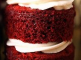 a red velvet wedding cake with cream and a cream topping is a cool idea for the fall