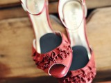 cranberry red vintage-inspired heels with ruffles will help a fall bride make a statement
