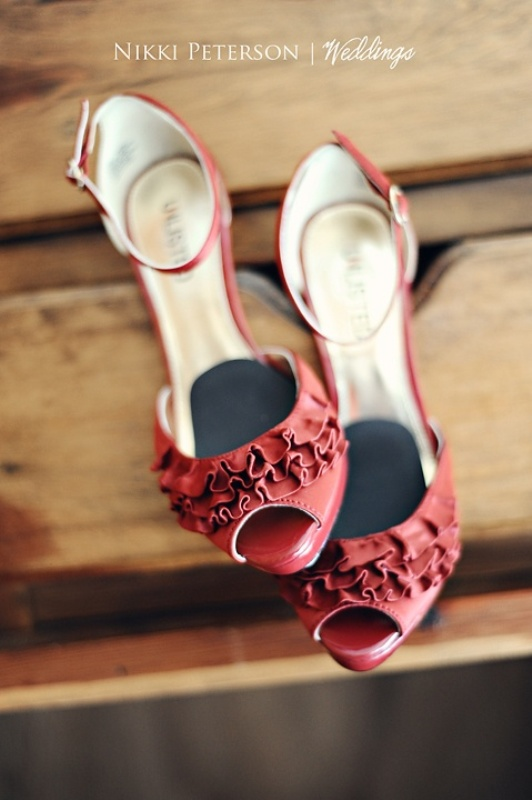 cranberry red vintage inspired heels with ruffles will help a fall bride make a statement