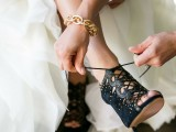 gorgeous embellished black pee toe lace up booties of suede and leather are a fantastic addition to a Halloween bridal look