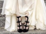 fantastic black velvet spiked tall wedding shoes are a gorgeous solution for a Gothic bride and they will make a statement