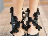 black peep toe shoes with ruffles, leather straps are a great idea for a vintage-inspired Halloween bridal look