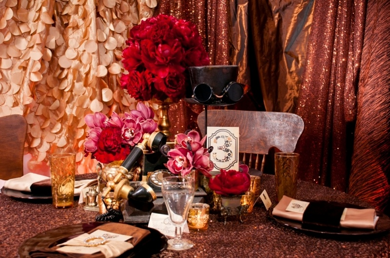 Picture Of Gorgeous Red And Copper Steampunk Wedding