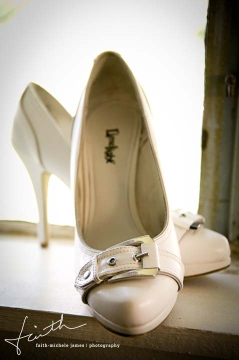 white vintage shoes with buckles and straps look statement-like and creative
