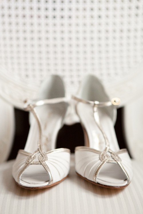 white and metallic T-strap vintage wedding shoes will bring a glam and chic feel to the bridal look
