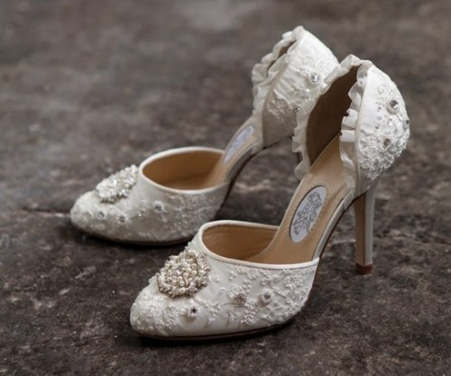 white lace cutout fully embellished wedding shoes with a touch of ruffle look chic and refined