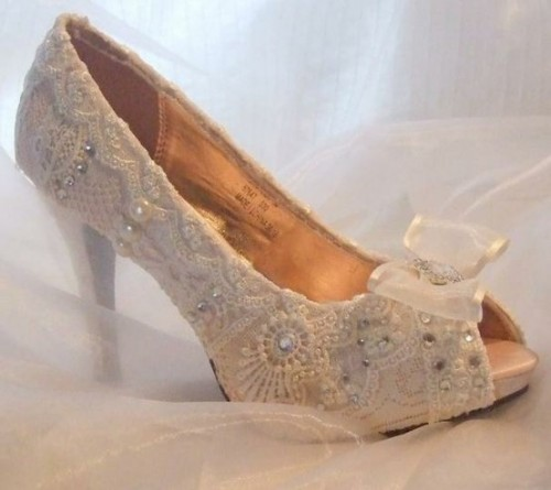 white lace peep toe fully embellished heels bring a sophisticated feel to the bridal look