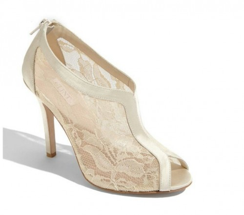 ivory lace peep toe booties look very chic and are a modern take on vintage booties
