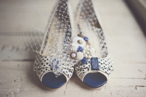 blue and white polka dot retro shoes with large bows on top for a touch of color and pattern in your look