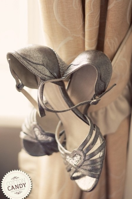 vintage metallic shoes with glitter hearts on top and multiple straps look stylish and bold
