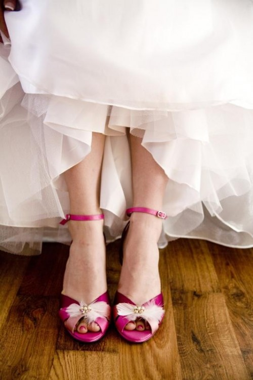 hot pink vintage peep toe wedding shoes with beads and feathers for adding a vintage feel and a bold touch to the look
