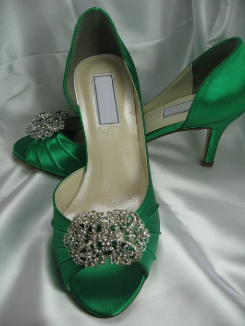 emerald peep toe wedding shoes with heavy embellishments on top will ad a bright touch of color and chic to your look