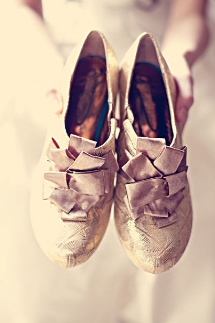vintage metallic shoes with fabric ribbons for detailing look refined and vintage