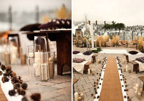 pinecones, burlap and various candles in candleholders are great to accent a winter wedding aisle and will bring a rustic feel to it