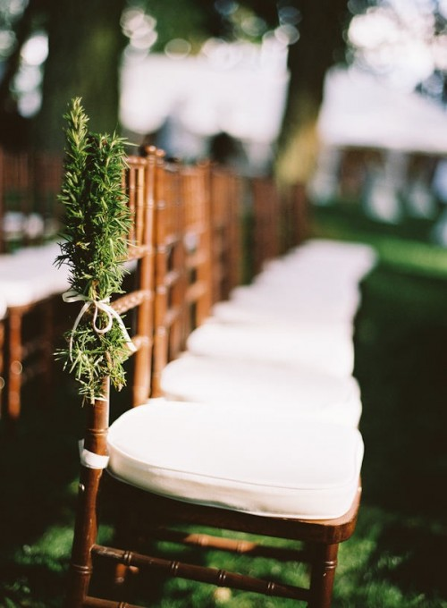 evergreens with white bows make the wedding aisle chic, natural and winter-like