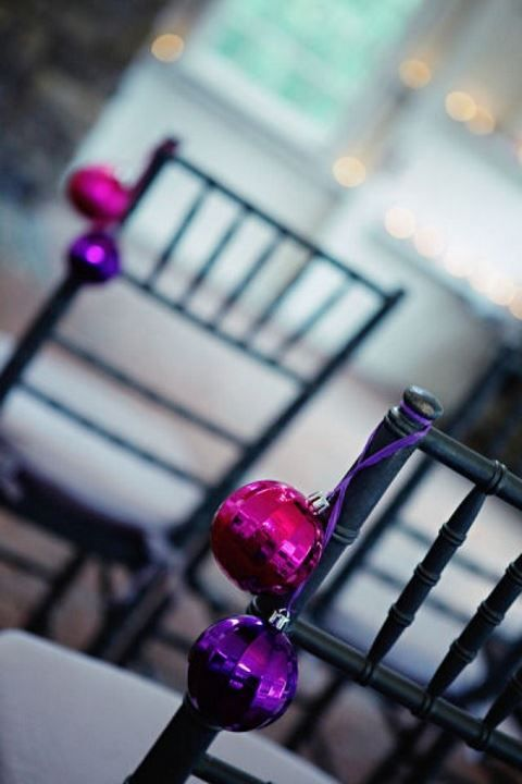 bright Christmas ornaments are an easy way to accent your wedding aisle and make it very holiday-like