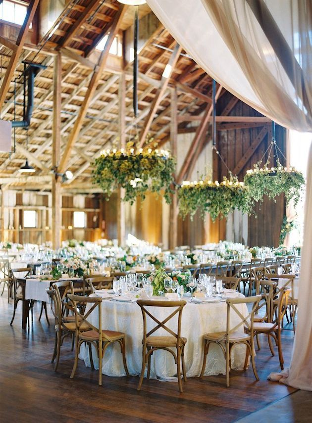 lush greenery chandeliers with candles will highlight the wedding venue a lot and will make it very fresh and spring like