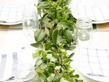 a textural greenery table runner is always a good idea, it will match many styles and will refresh the space at once