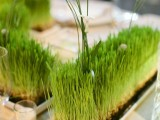 creative grass wedding centerpieces with some greenery and tiny blooms for a fresh spring reception look