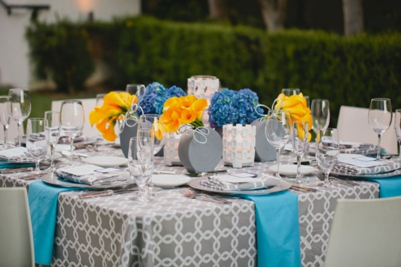 Picture Of Grey And Blue With Pops Of Yellow Wedding Decor Inspiration