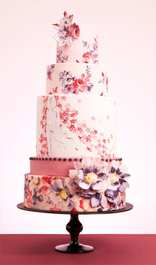 Hand-Painted Wedding Cakes By Nevie-Pie Cakes