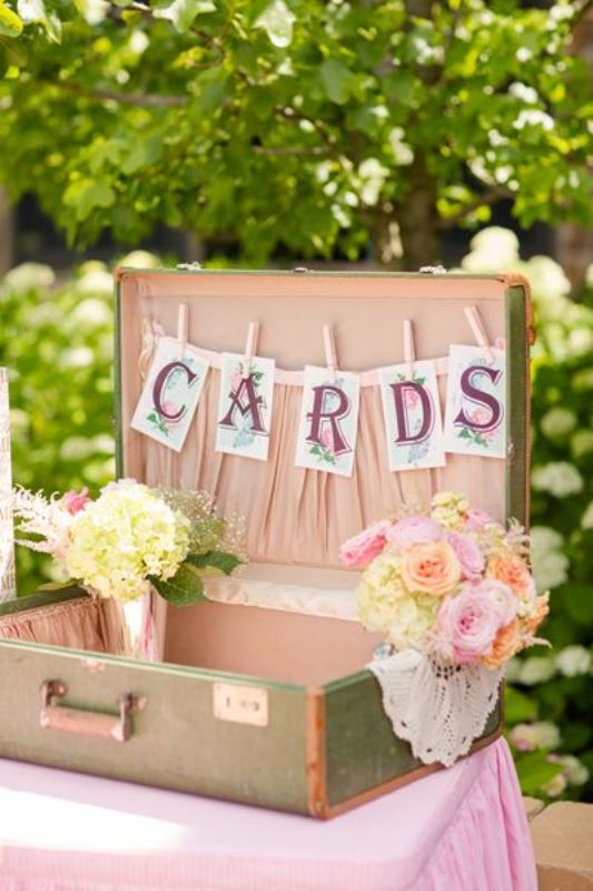 Picture Of how to use vintage suitcases in your wedding decor 30 clever ideas  2