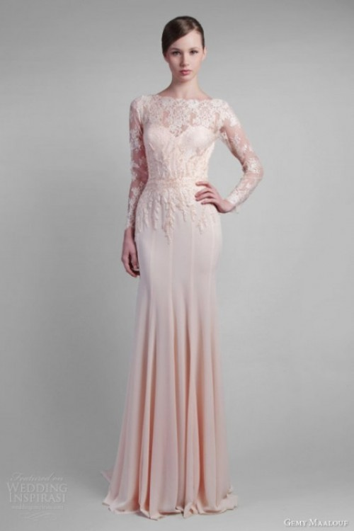 a blush mermaid wedding dress with a lace bodice and long illusion sleeves plus a plain skirt with pleating