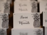 monochromatic black and white cards will fit a tropical wedding, you may rock any bold color scheme, too