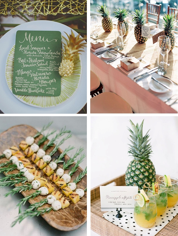pineapple appetizers, drinks, pineapples to mark table runners and place settings will give a tropical feel to the table