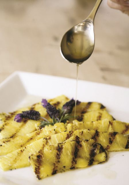 pineapple carpaccio with lavender honey syrup is a gorgeous wedding appetizer for a tropical or summer wedding