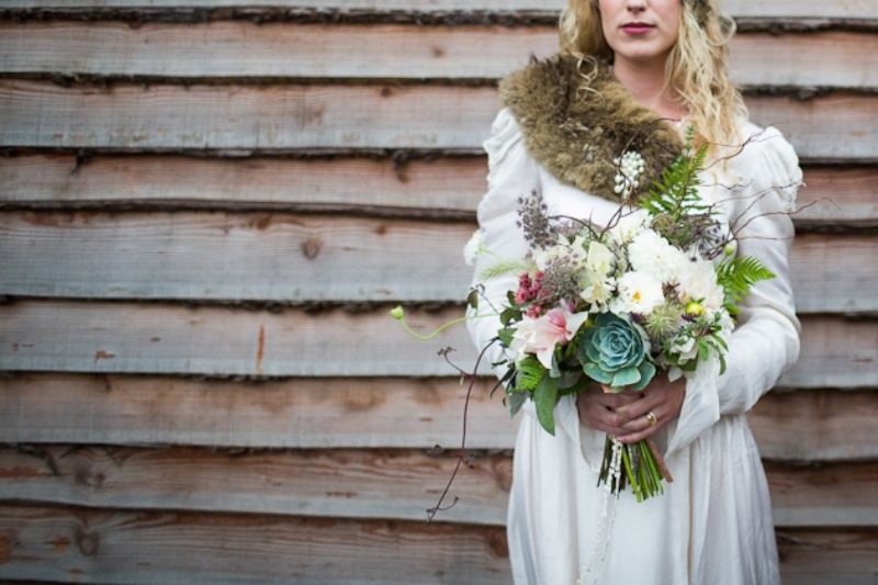 Picture of incredible vintage woodland winter wedding inspiration