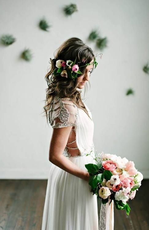 Picture Of incredibly beautiful boho chic bridal hair ideas  10