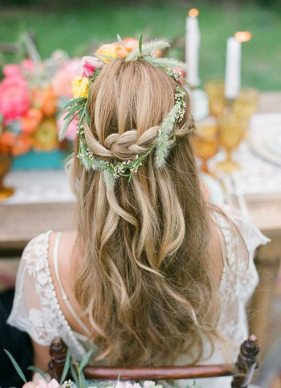 Picture Of incredibly beautiful boho chic bridal hair ideas  17