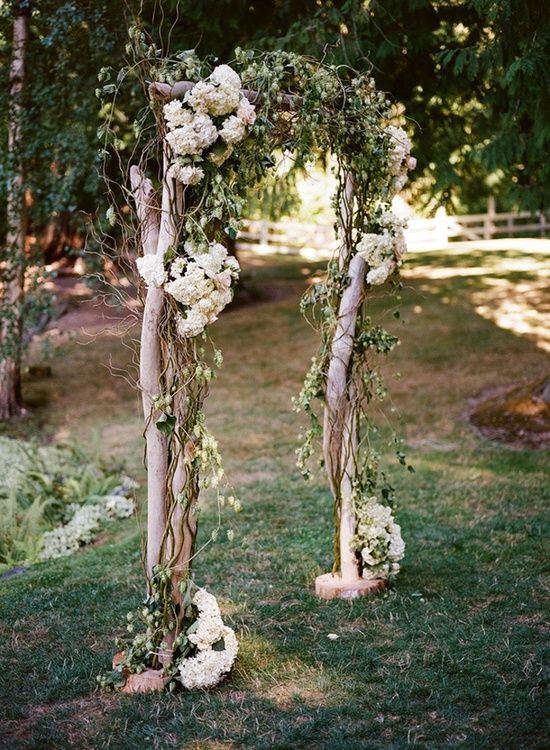 a spring wedding arch of branches and twigs plus white hydrangeas and some greenery