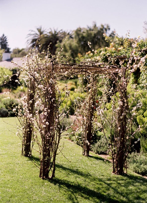 a spring wedding arch fully done of blooming branches is a cool idea for spring when everything is in bloom, too