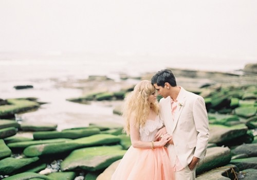 Incredibly Chic Peach And Gold Beach Wedding Inspiration