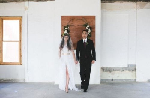 Industrial Glam Marsala Wedding Inspirational Shoot