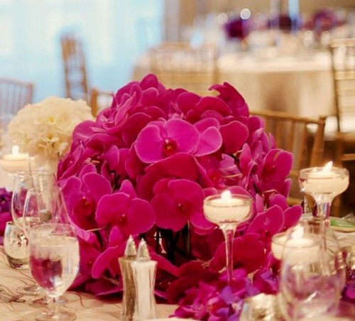 a bright and chic Valentine's Day wedding centerpiece of fuchsia colored orchids is a lovely and bold idea to rock