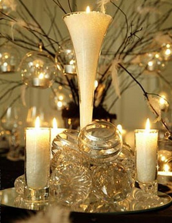 branches with bubbles and tealight candles inside, pillar candles and sheer and glitter ornaments