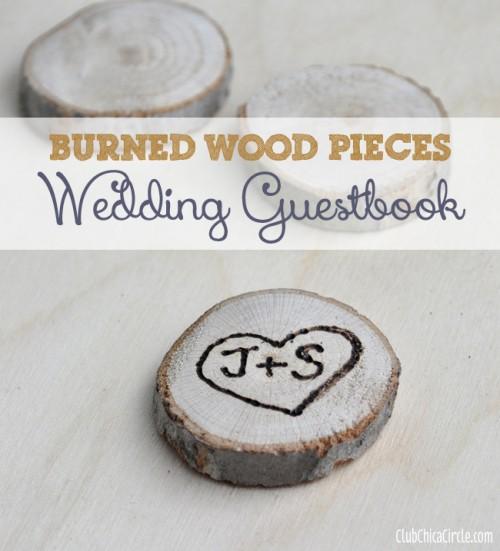 Interactive Diy Burnt Wood Guest Book