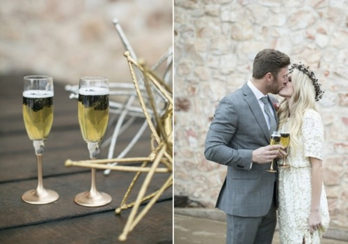 Intimate And Elegant Black And Gold Wedding Inspiration