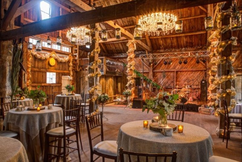 Picture of intimate and lovely inside barn wedding for Wedding reception location ideas