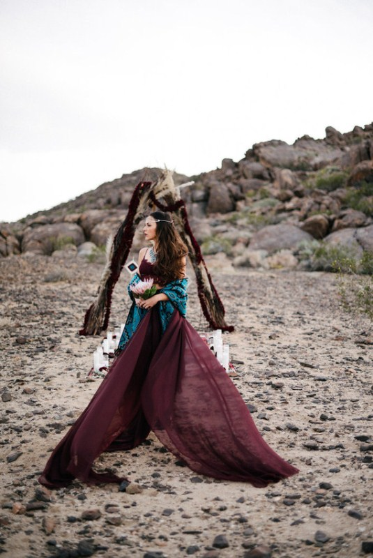 Picture Of intimate bohemian desert fall wedding inspiration  1