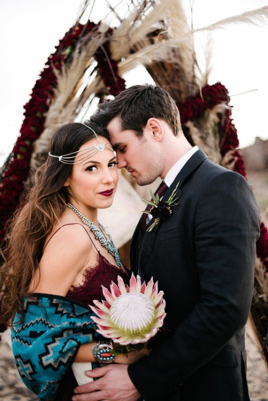 Picture Of intimate bohemian desert fall wedding inspiration  10
