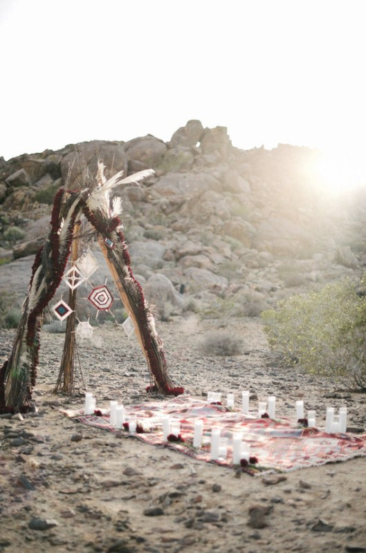 Picture Of intimate bohemian desert fall wedding inspiration  2