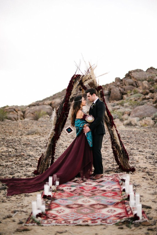 Picture Of intimate bohemian desert fall wedding inspiration  3