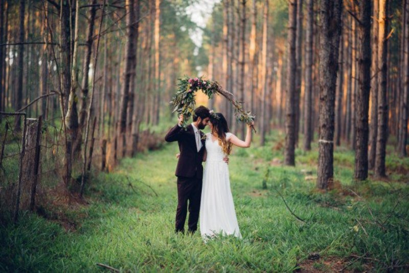 Picture Of intimate bohemian woodland wedding inspiration  1