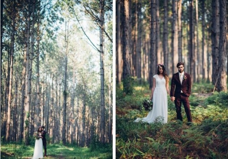 Picture Of intimate bohemian woodland wedding inspiration  10
